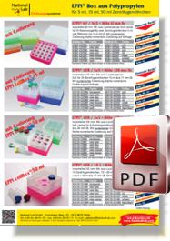 Flyer EPPi® Box aus Polypropylen für Zentrifugenröhrchen
