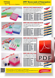Flyer EPPi® Boxes made of Polypropylene for centrifuge tubes